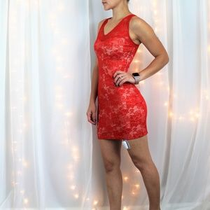 Bebe Red Lace Fitted Dress Size XS
